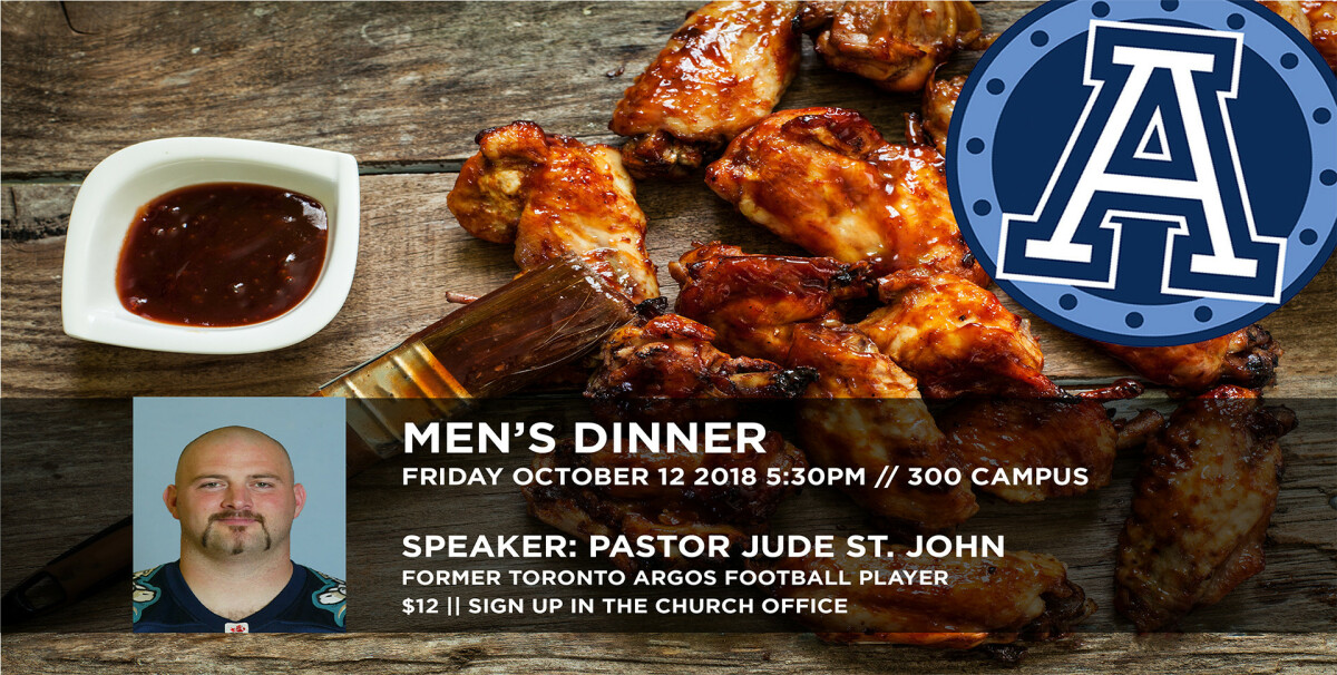 Men's Dinner - Wing Night with Pastor Jude St. John